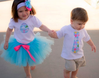 Personalized Matching Brother and Sister Easter Argyle Outifts - Tutu Outfit and Neck Tie Shirt