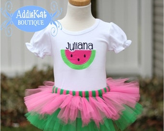 PERSONALIZED Watermelon Tutu Outfit - Pink and Green