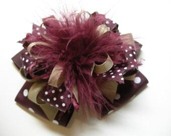 Big Burgundy Maroon Wine Khaki Hair Bow Over the Top Marabou Polka Dot Large Boutique Toddler Girl
