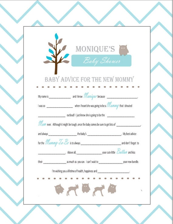baby shower mad libs and wishes for the mom to be woodland animal