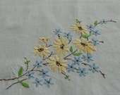 1940s vintage English tablecloth embroidered blue and yellow flowers