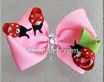 Ladybug Hair Bow, Ladybug Hair Clip, Easter Hair Bow, Pink Hair Bow, Ladybug Bow, Ribbon Sculpture