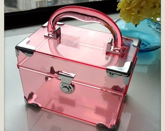 Deadstock Perspex rectangular pink clutch box with handle