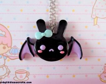 Pastel Creepy Cute Bat Bunny Necklace