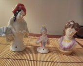 Porcelain ladies women pin cushion toppers bust girl doll home decor sewing project table candy mantle japanese chinese
