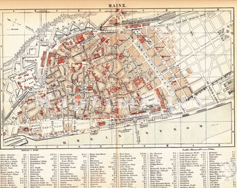 1887 City Map of Mainz, Rhine Germany in the 19th Century - Hometown of Gutenberg Original Antique Historical Map of