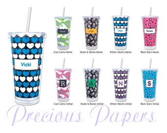 Personalized Cups with lid and straw Personalized Plastic Tumblers - heart tumblers, star tumblers, skull tumblers or Camo tumblers