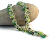 Green Beaded Shaggy Loops Chainmail Necklace, Shaggy Loops Chain Maille Necklace, Green Bead Chainmail Necklace
