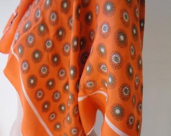 1950s SILK Scarf/ Orange Pattern Scarf/ Mod Scarf /Retro Scarf/ Bright Orange Silk Scarf/ Glentex