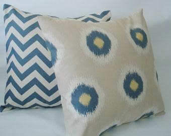 "Pillow Covers Chevron Two 18 X 18  Blue  Ikat  Throw  Pillows - "" Domino  ""    Accent Pillows -  Throw Pillows  - Decorative 18  X 18"
