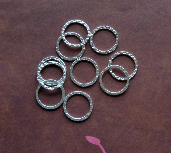 Hammered Metal Rings Silver 20mm Wholesale Jewelry