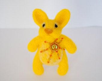 Needle felted bunny brooch, yellow bunny, sunny bunny