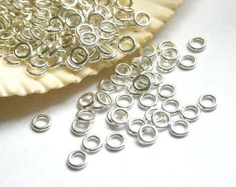 50/100 Silver Plated Jump Rings 4mm, Closed Loop - 7-11