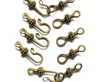 Antique Bronze Hook and Ring Toggle Clasps - 5 Sets - 16-BC-4
