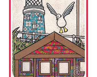 Southwold A5 Postcard Lighthouse Beach Hut Seagull