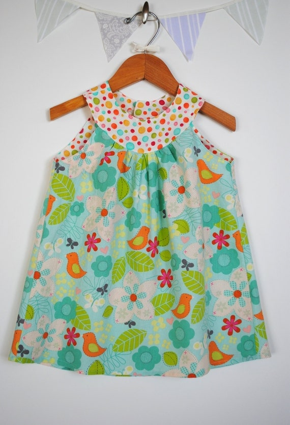Girls A Line Dress, Round Collar, Sleeveless Tunic in Bird Fabric, Flowers, Leaves, Blue, Green, Orange, Polka Dots, Size 12-18 Months to 6