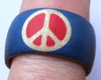Red, White & Blue Peace Symbol --  wood finger ring