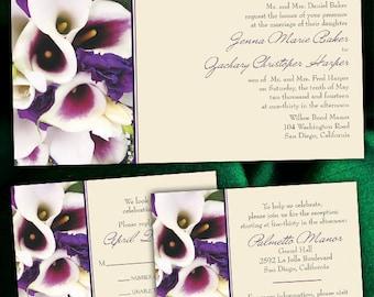 Custom Purple Calla Lily Wedding Invitations