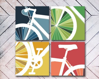 CANVAS // 4 Panel Bike Art // Bike Art, Cycle, Bicycle, Bike Canvas, BMX, Ride, Color block
