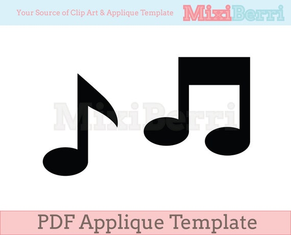 Musical Note Applique Template Pdf Instant Download