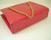 Mid Century Mad Men Style Glamour Pink Purse with Two Brass Chain Straps by Merle