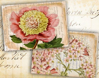Digital Collage Sheet - Greeting Cards - Instant Download - Digital Backgrounds - Jewelry Holders - Paper Craft - OLD VINTAGE FLOWERS