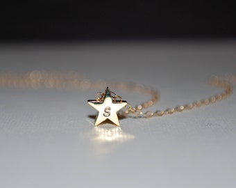 My Lucky Star. Small gold initial star necklace, gold filled necklace, personalized necklace, star initial necklace, gift