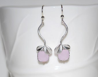 Blossom. Blush pink dangle earrings, vine and leaf earrings, spring and summer jewelry, gifts for Mom