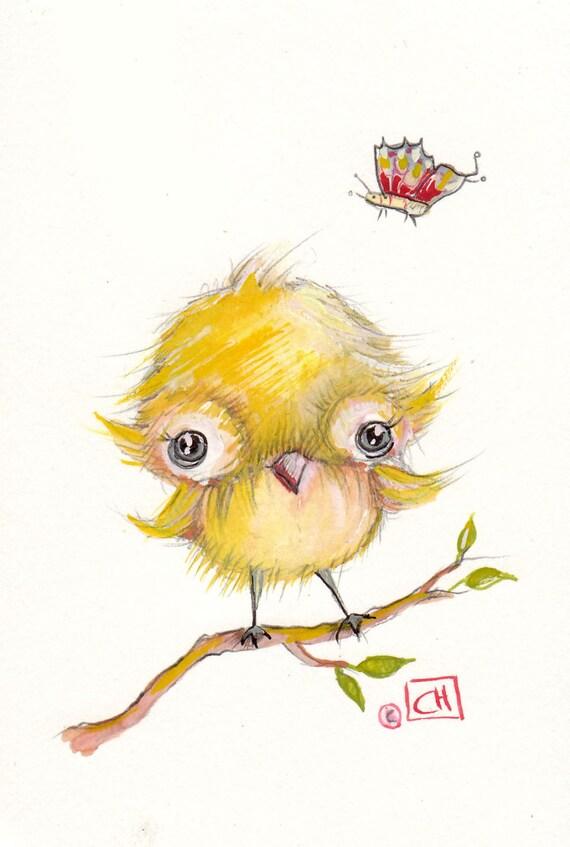 original gouache painting..spring baby birds& chicks