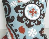 PILLOW Throw Pillow Cover Spa Blue Copper Decorative Pillows 16x16 SALE. Brown throw pillows Clearance Home Decor