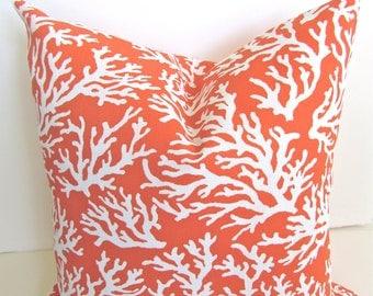 CORAL Throw Pillows Coral ORANGE Throw Pillow Covers Indoor Outdoor Pillows  Coral Pillow Covers Outdoor Coral