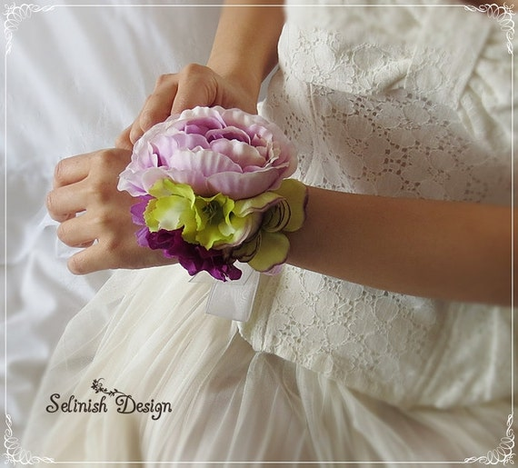 Wrist Corsages Wedding: Bridal Wrist Corsage Purple Wedding Corsage Prom Corsage