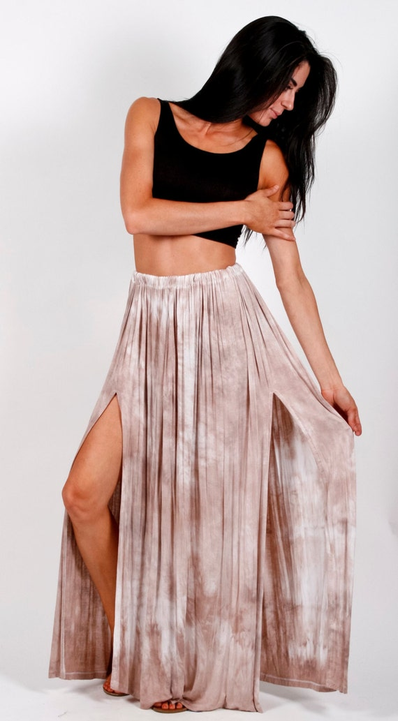 maxi skirt with side slits mauve by dvcollection on