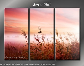 Framed Huge 3 Panel Early Morning Serene Mist Giclee Canvas Print - Ready to Hang