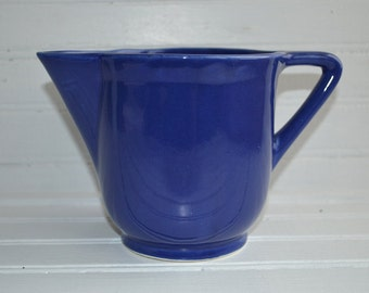 1940s Retro Vintage Blue Stoneware Pottery Pitcher Made In USA