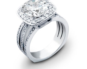 Ladies 18kt white gold engagement ring 0.90 ctw G-VS2 diamonds with 3ct Natural White Sapphire Center