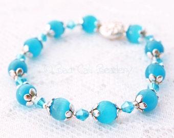 Stack Bead Stretch Bracelet Set Blue Turquoise Crystal Silver