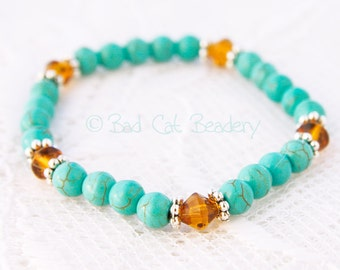 Turquoise Blue Bead Stretch Stack Bracelet, Brown Crystal, Silver Bead Stretch Bracelet
