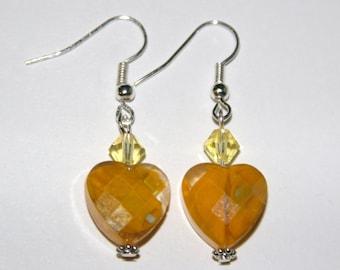 Yellow Heart and Swarovski earrings