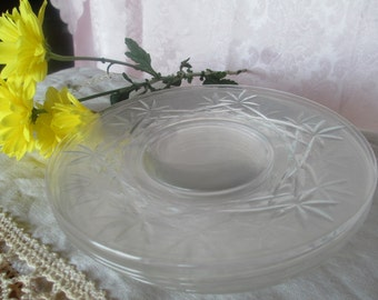 6 Vintage Crystal Luncheon Salad Dessert Cake Plates teas Lunch bread  butter Gorgeous faceted wedding shower gift