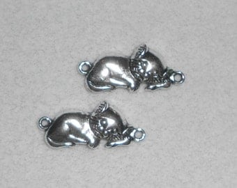 Silver Sleeping Cat Charms
