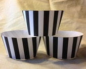 Referee Black White Stripe cupcake wrappers Football Party