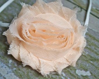 Apricot Shabby Chic Flower on a Skinn Elastic Headband, Newborn Photo Shoot, Newborn Headband, Infant Headband, Photo Prop, Toddler Headband