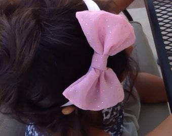 Pink Chiffon Hair Bow Headband or Hair Clip, Baby Girl Hair Bow Headband, Women French Barrette Hair Bow, Girls Hair Bow Headband,