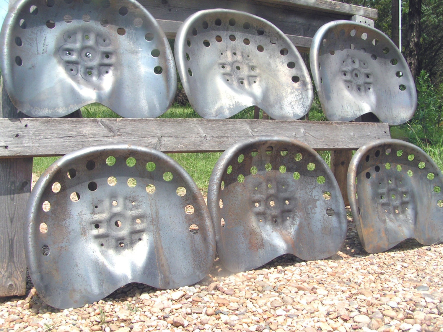 Old Tractor Seats Steel : Six steel tractor seats bar stool tops pan by