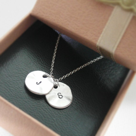 Initial necklace initial double round pendant necklace in description initial double round pendant necklace mozeypictures Images
