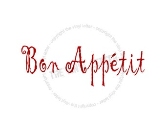 Bon Appetit Vinyl Wall Kitchen Home Decor Decal Sticker