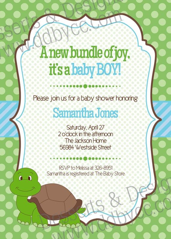 baby turtle shower printable invitation boy