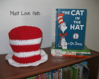 Cat in the Hat Inspired Hat - Crochet Cat in the Hat - Photo Prop - Newborn Photo Prop - Dr Seuss Photo Prop - Made to Order