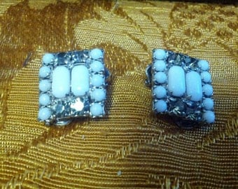 Vintage clip on earrings with white stones and shiny smoky rhinestones